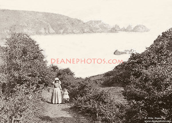 A cliff walk at Moulin Huet Bay in the 1870's