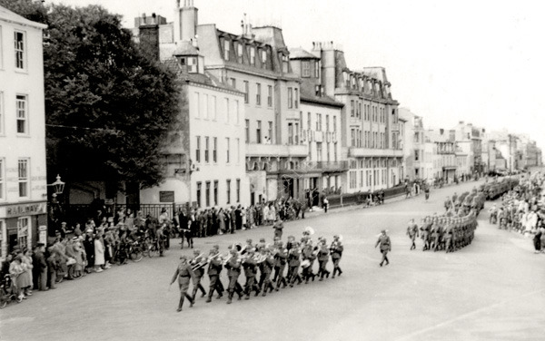 German troops with band
