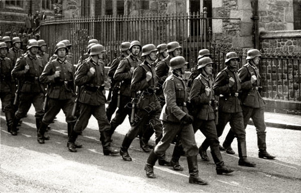 German troops marching by Town Church St Peter Port