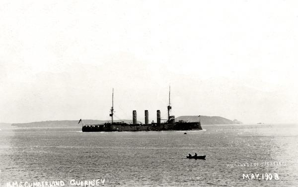 HMS Cumberland off Guernsey May 1908