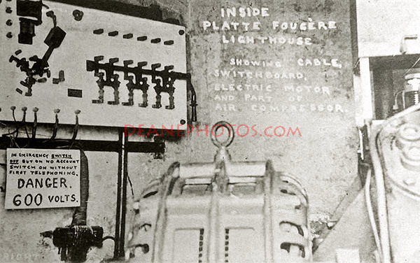 Inside Platte Fougere Lighthouse - an early postcard