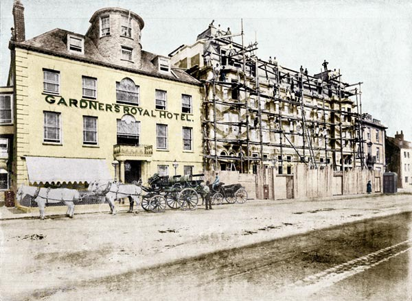 Gardner's Royal Hotel showing the new annexe being completed.