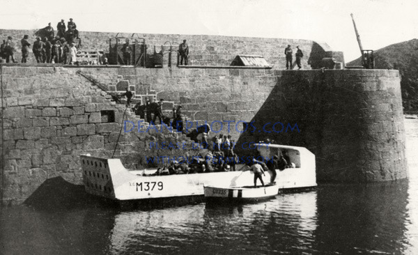 German troops depature by British landing craft