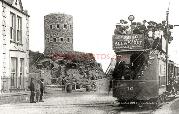 Tram No 10 outside No1 Loophole Tower about 1905