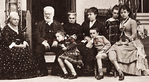 Victor Hugo at Hauteville House in 1878 with his family and friends -zoom