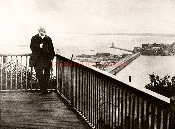 Victor Hugo on his balcony at Hauteville House
