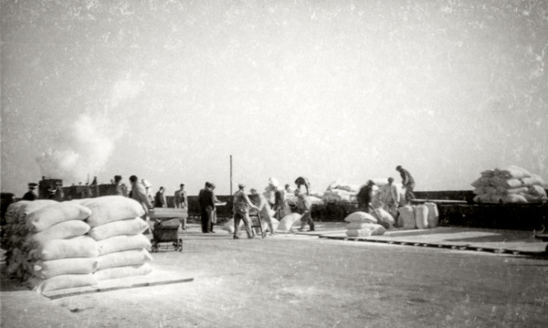Unloading of Red Cross supplies during Occupation