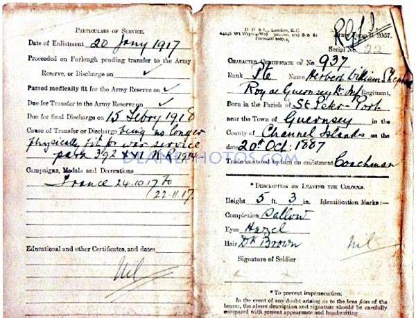 Particulars of Service Record