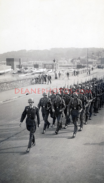 Marching German Troops along the Quay