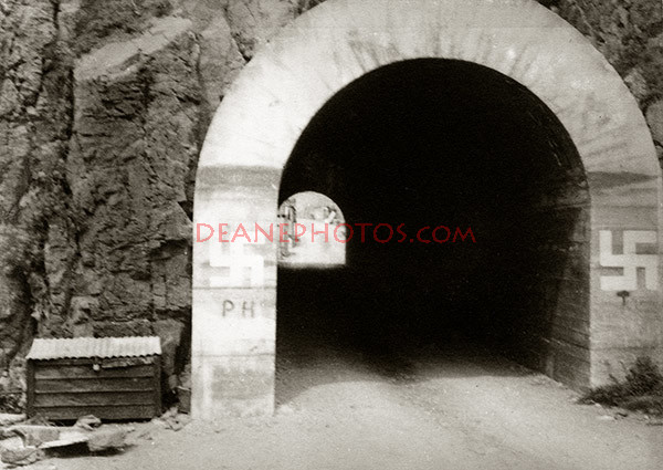 Creux tunnel from harbour with Swastika markings July 1940
