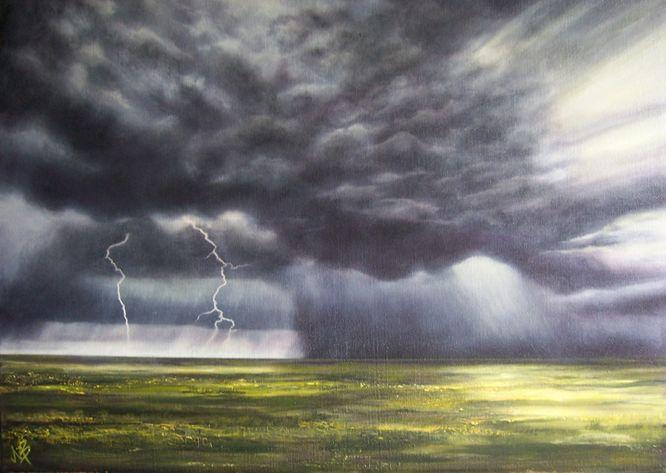 Grey lightning sky over yellow feild, landscape