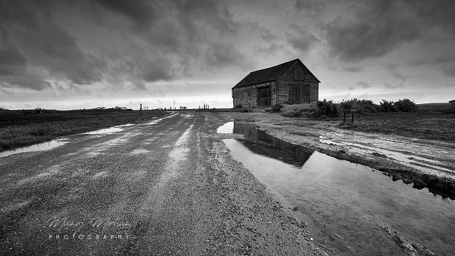 Thornham, Norfolk coast monochrome