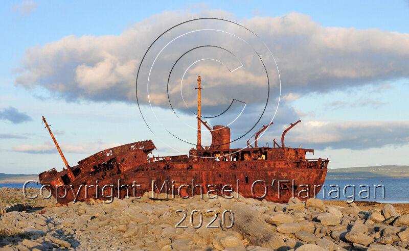 Evening Sunlight on the Plassy Shipwreck, Inis Oirr, Aran Islands Ref. # DSC4528CR