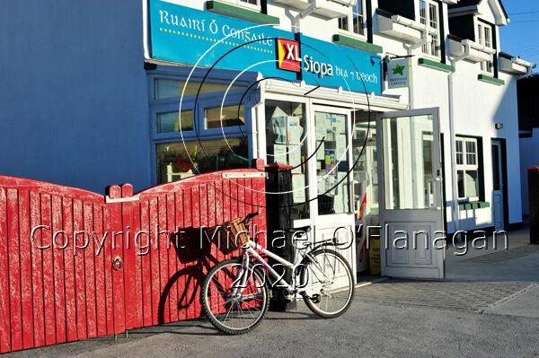 Evening sun shining on Ruairí Ó Conghaile's Shop, Inis Oirr, Aran Islands Ref. # DSC6105