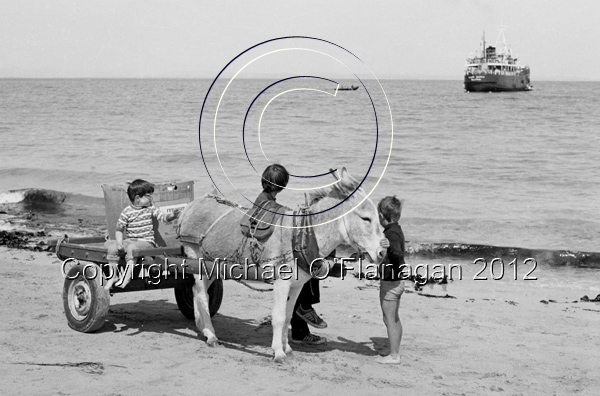 Ruairí Ó Conghaile's donkey & cart on beach & the Naomh Éanna ferry off-shore, Inis Oirr (1981) Ref. # F51.5a