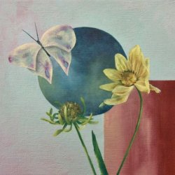 Yellow Flower and Blue Circle