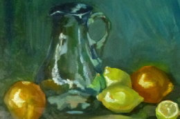 blue jug with citrus