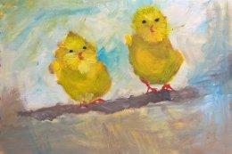 chicks on a perch art card