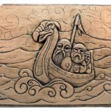 THREE MEN IN A LONGBOAT (PLAQUE) - ORIGINAL CERAMIC