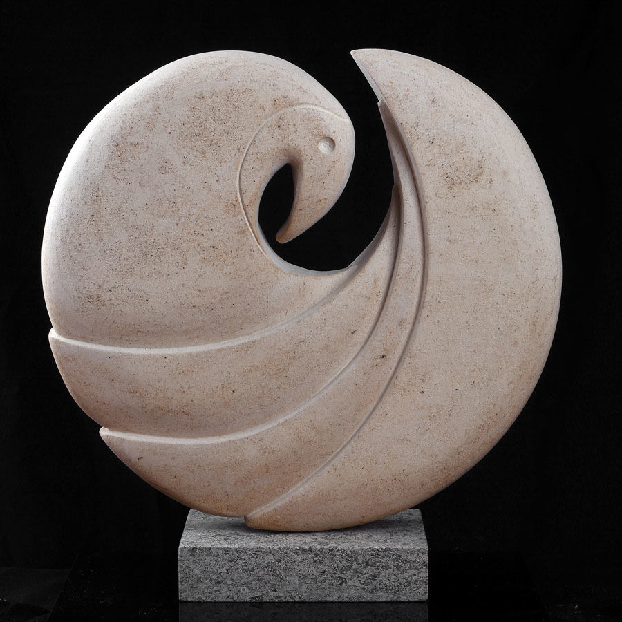 Hand carved in Ancaster Alabaster 46cms x 43cms x 15cms It has been remounted on an oak plinth since these photographs were taken.
