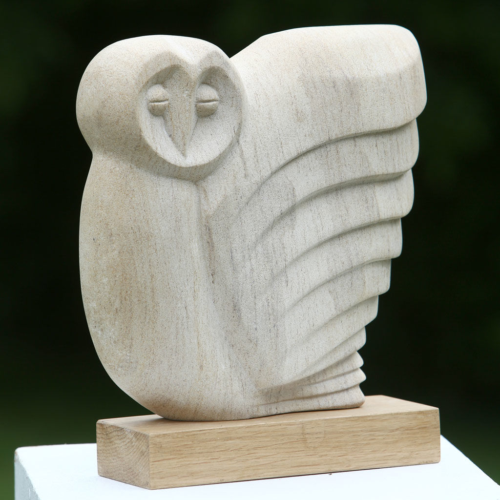 Hand carved in Ancaster Limestone on an Oak plinth. 30cms x 30cms x 9cms View 1
