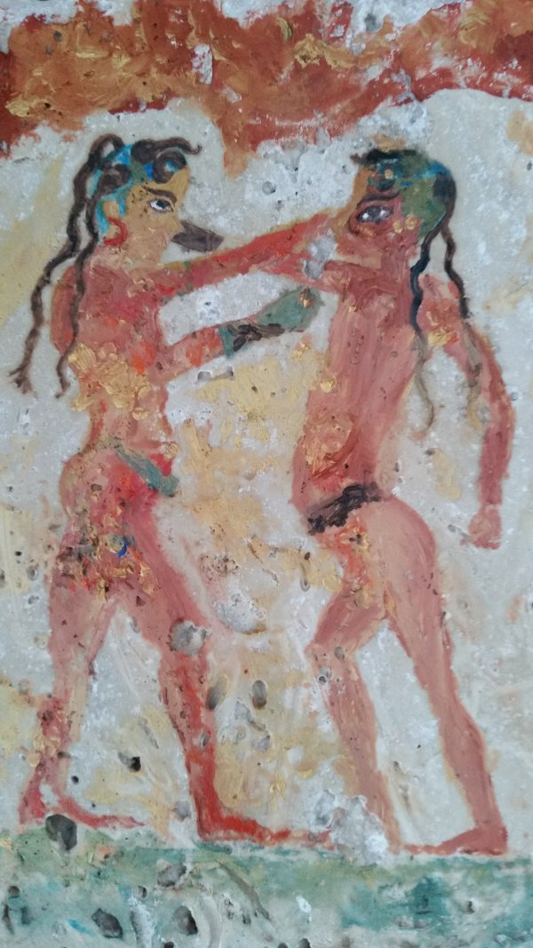 minoan boxing girl and boy