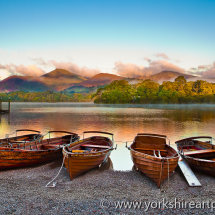 Boats on Derwentwater Landing, Keswick, Lake District, Cumbria, UK