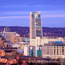 Bridgewater Place and Skyline at Dusk. Leeds, West Yorkshire, UK