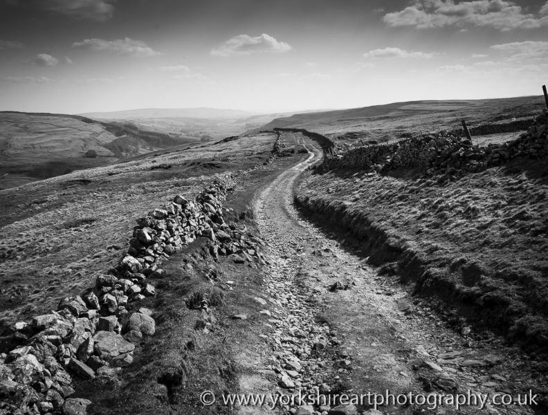 Cam gill road monochrome kettlewell yorkshire dales uk