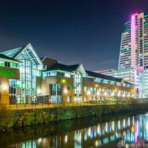 Bridgewater Place, Asda HQ & River Aire at Night.