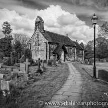 St John the Baptist Church monochrome, Adel, Leeds UK