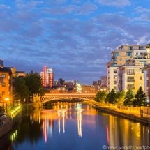 River Aire and Crown Point Bridge at night, Leeds