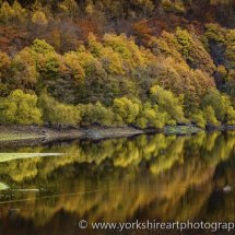 Linley Reservoir in autumn. Otley, Yorkshire, UK