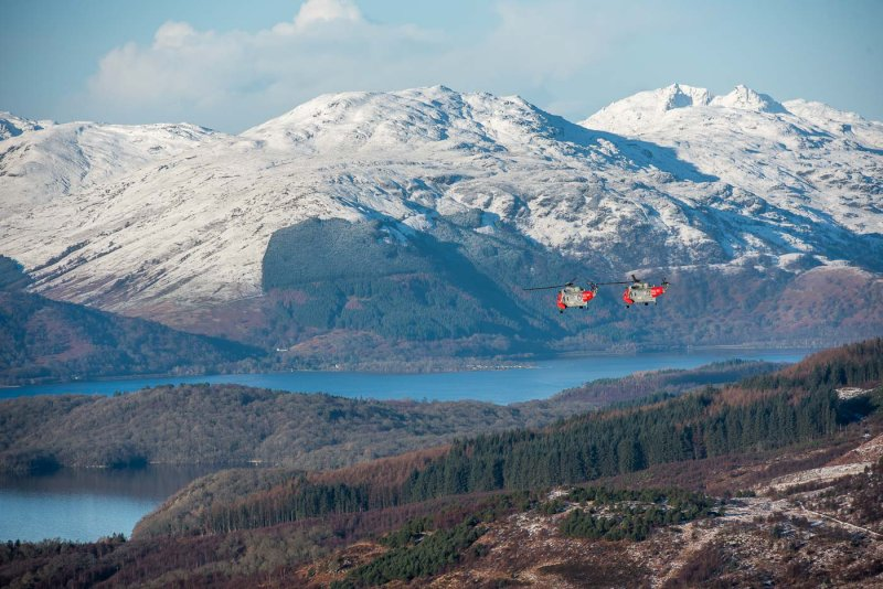 Sea Kings from HMS Gannet on Farewell flight over Loch Lomond