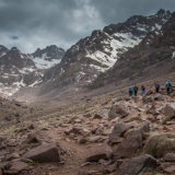 Group approaching the Refuge duToubkal