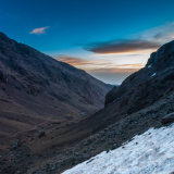 Ascending Toubkal at sunrise