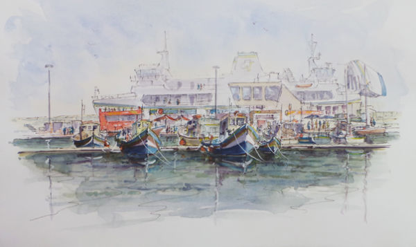 Fishing boats and the Ferry. <BR>Mgarr Harbour Gozo