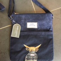 Earth Squared Wool & Cord Bag - Navy Highland Cow
