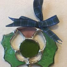 Hand Made Stained Glass Thistle (Blue Ribbon)