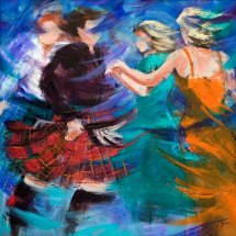 """Jiggin Roon"" Greetings Card by Janet McCrorie"