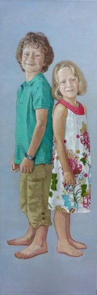 "Brother and sister 20""x 60"" oil on canvas"