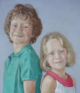 "Brother and sister 20""x 60"" oil on canvas (detail)"