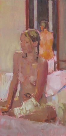 "Becky and the mirror 5""x10"" oil on gesso (SOLD)"