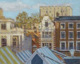"Norwich market and castle 10""x 8"" oil on board (SOLD)"