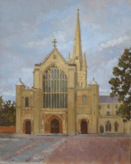 """Norwich cathedral (summer evening) 8""""x 10"""" oil on board (SOLD)"""
