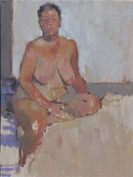 "Dorcas on bed 6""x 8"" oil on board"