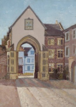 """Erpingham gate from The Close 8""""x 10"""" oil on board"""