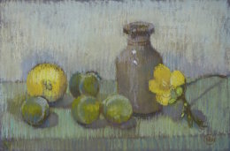 'Ink bottle with fruit' (pastel)  by Naomi Clements