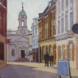 "London street, Norwich 6""x 6"" oil on board"