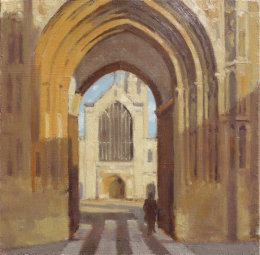 """Norwich cathedral through the gate 6""""x 6"""" oil on board"""